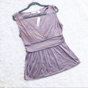 WORTHINGTON ✨NWT✨ Dusty Lavender Ruched V-Neck Top